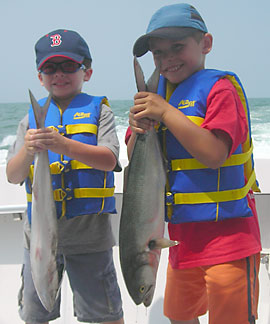 Young boys with Bluefish