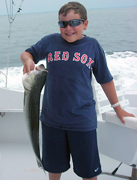 Young angler with bass